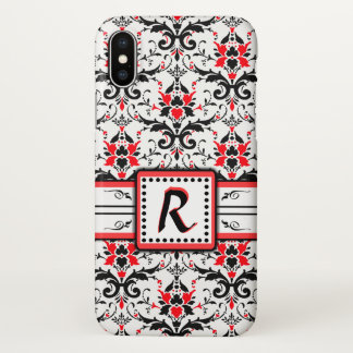 Black and Red Damask Monogram iPhone X Case