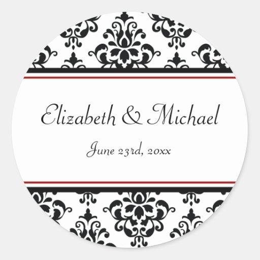 Black and Red Damask Round Wedding Favor Label Sticker