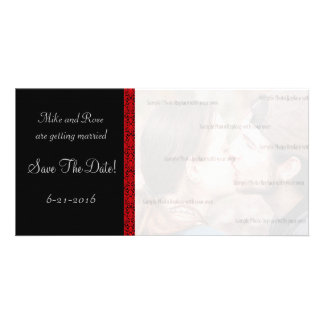 Black and Red Damask RSVP Picture Card