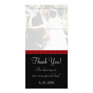 Black and Red Damask Thank You Card Photo Greeting Card