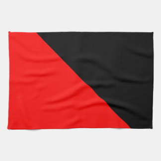 Black and Red diagonal flag Kitchen Towel