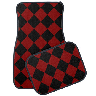 Black and Red Diamond Checker  Car and Truck Mats Car Floor Carpet