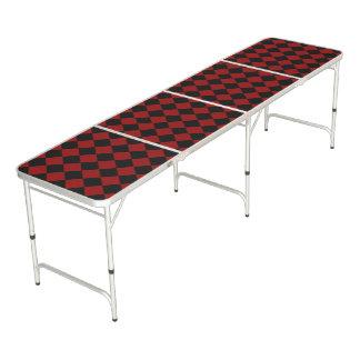 Black and Red Diamond Checker Print Beer Pong Table