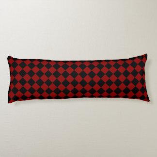 Black and Red Diamond Checker Print Body Pillow