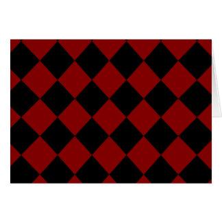Black and Red Diamond Checker Print Card