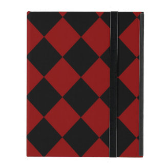 Black and Red Diamond Checker Print Case For iPad
