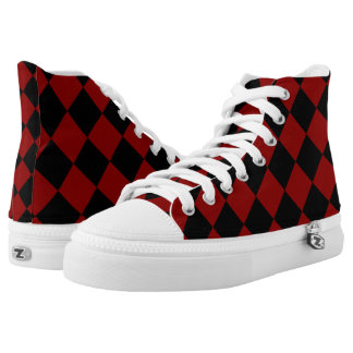 Black and Red Diamond Checker Print High Tops