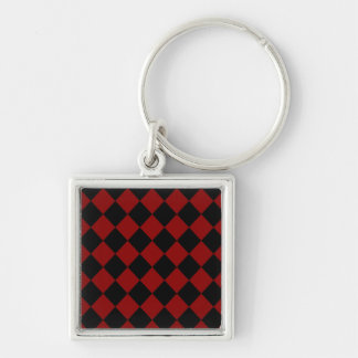 Black and Red Diamond Checker Print Keychain