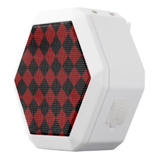 Black and Red Diamond Checker Print White Bluetooth Speaker