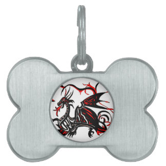 BLACK AND RED DRAGON PET ID TAG