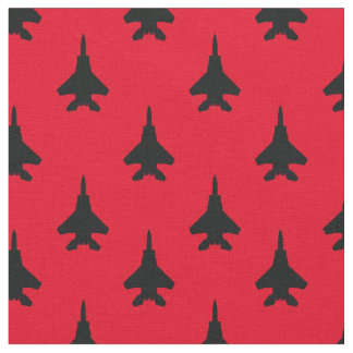 Black and Red Eagle Fighter Jet Pattern Fabric