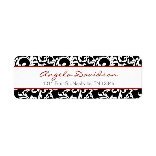 Black and Red Elegant Damask Pattern Return Address Label