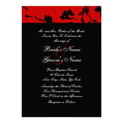 Black and Red Floral Wedding Invitation