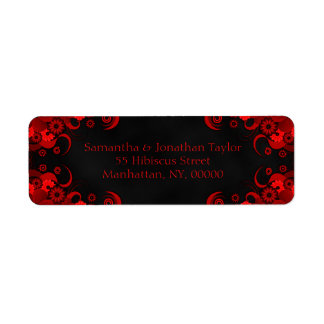 Black and Red Floral Wedding Return Address Labels