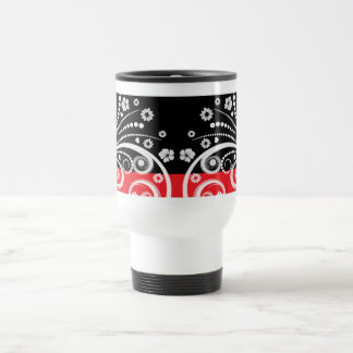 Black and red flourish design 15 oz stainless steel travel mug