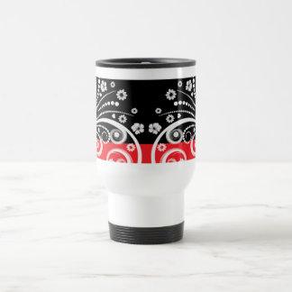 Black and red flourish design travel mug