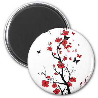 Black and Red Flowers 2 Inch Round Magnet