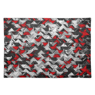 Black and Red Geometric Explosion Placemat