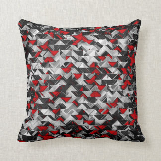 Black and Red Geometric Explosion Throw Pillow