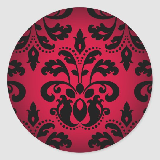 Black and red gothic victorian vintage damask classic round sticker