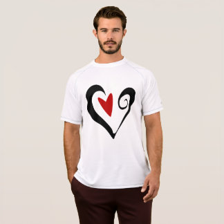 Black And Red Heart Mens Active Tee