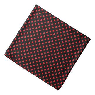 Black And Red Hearts Polka Dot Pattern Bandana