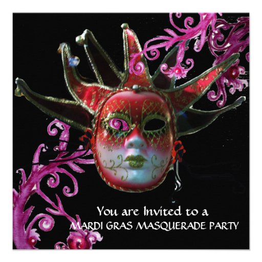 BLACK AND RED JESTER MASK ,Masquerade Party  Black Invitation