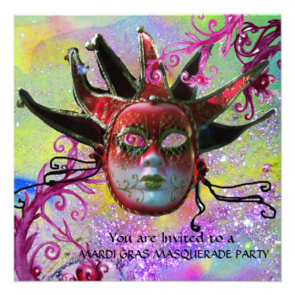 BLACK AND RED JESTER MASK , Masquerade Party Personalized Invitation