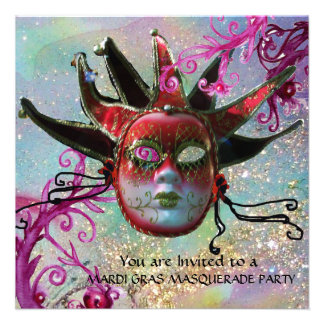 BLACK AND RED JESTER MASK , Masquerade Party Custom Invitation