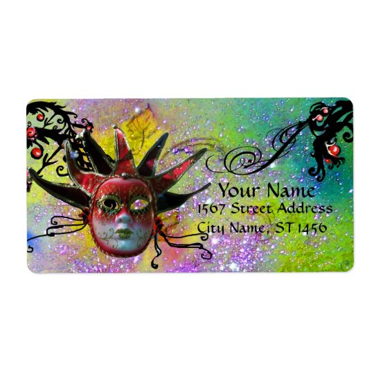 BLACK AND RED JESTER MASK ,Masquerade Party Purple Shipping Label