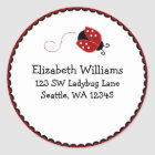 Black and Red Ladybug Round Address Sticker Label
