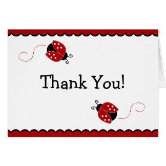 Black and Red Ladybug Thank You Note Card