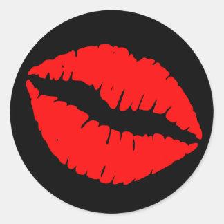 Black and Red Lipstick Print Classic Round Sticker