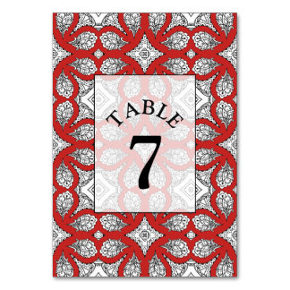Black and Red Mandala Wedding Table Number Card