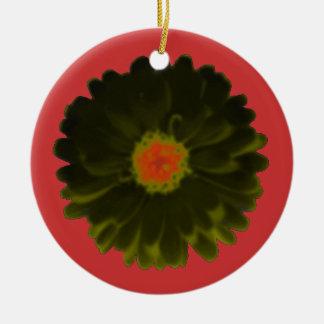 Black and Red Marigold Custom Birthday Ceramic Ornament