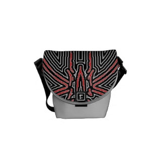 Black and Red Maze Abstract w/Silver Dust Commuter Bag
