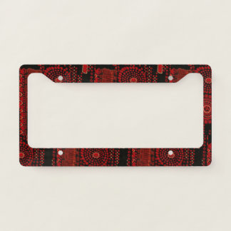 Black and Red Moderne License Plate Frame