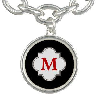 Black and Red Monogram Charm Bracelet