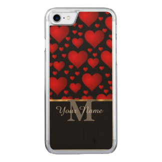 Black and red monogram love heart pattern carved iPhone 7 case