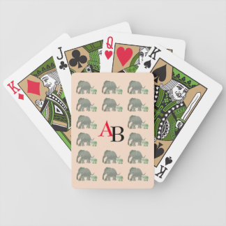 Black and Red Monogram with Elephant Pattern Poker Deck