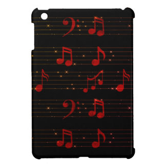 Black and Red Musical Notes - iPad Mini Case