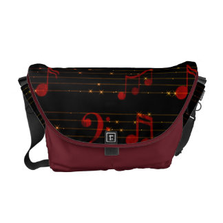 Black and Red Musical Notes Messenger Bag