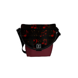 Black and Red Musical Notes Mini Messenger Bag