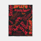 Black and Red Neon Flame Blanket Name Collage