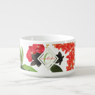 Black and Red Orchids Art Watercolor Monogram Bowl