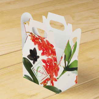 Black and Red Orchids Art Watercolor Monogram Favor Box