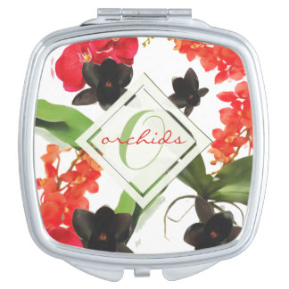 Black and Red Orchids Art Watercolor Monogram Mirror For Makeup