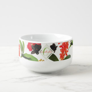 Black and Red Orchids Art Watercolor Monogram Soup Mug