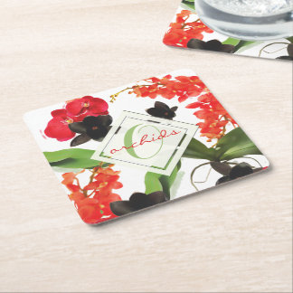 Black and Red Orchids Art Watercolor Monogram Square Paper Coaster