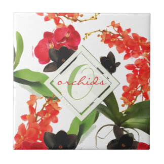 Black and Red Orchids Art Watercolor Monogram Tile